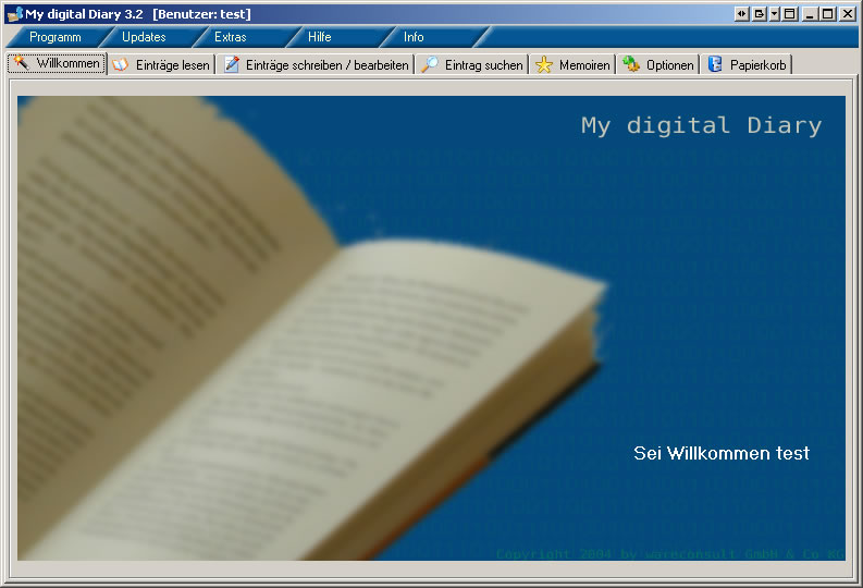Screenshot vom Programm: My digital Diary Standard Edition